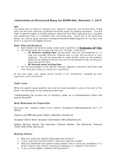Information on Structured Essay_Sem_1_2015