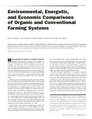 Environmental, Energetic, and Economic Comparisons of Organic and Conventional Farming Systems
