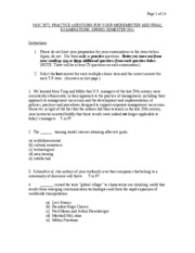 Pratice Questions for Midsemester and Final Examinations StOC 2672, Spring 2011