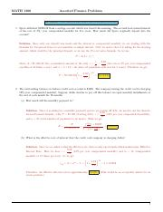 MATH 1300 FInance Assorted Problems Solutions (1)