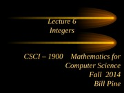 Lecture 6 - Integers
