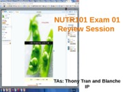 NUTR101 Spring 2013 Exam 01 Review Notes on Slides