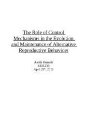 The Role of Control Mechanisms in the Evolution and Maintenance of Alternative Reproductive Behavior