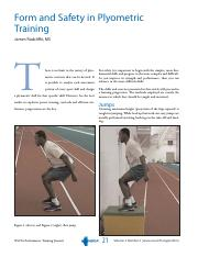 Form and safety in plyometric training