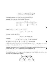 Solutions to Mini-Quiz Apr. 7