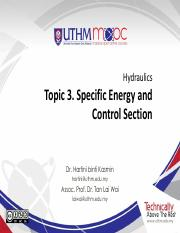 hydraulics Topic 3 Specific Energy and Control Section