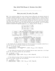 Stat 4510 7510 Exam 2 (Fall 2013) (Solutions)