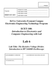 ECET-100, LAB 6, The Resistive Voltage Divider. Introduction to HP 54600B Dual Channel Oscillosco