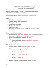 CMS 167 WEEK 3 Class Notes