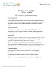 Teaching Test English - Lesson 5 Summary