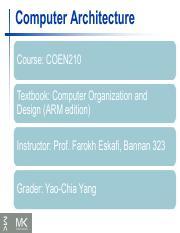 Class 1 Pdf Computer Architecture Course Coen210 Textbook Computer Organization And Design Arm Edition Instructor Prof Farokh Eskafi Bannan 323 Grader Course Hero