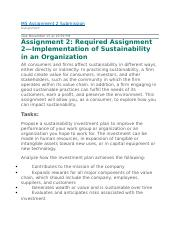 Implementation of Sustainability in an Organization.WK5.docx