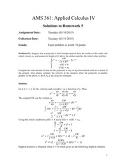 AMS 361: Applied Calculus IV Homework 5-solution
