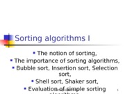 Imam University (Spring 2013) CS242 - Week 3 - Sorting algorithms I (Simple algorithms)