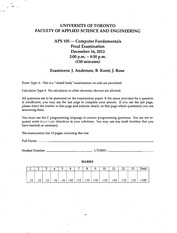 APS105 2013 Official Exam