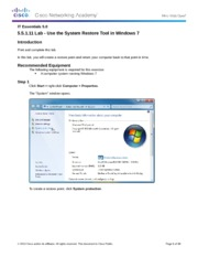 5.5.1.11 Lab - Use the System Restore Tool in Windows 7
