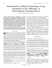 Determination of Metal Contaminants Using Automated In-Situ Metrology in Semiconductor Cleaning Proc