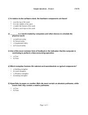 Sample Questions for Exam 1