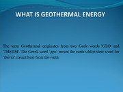 Geothermal Application