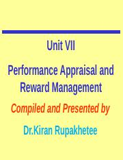 UNIT VII-Performance Appraisal and Reward Management-final-Dec 15-2016