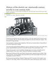 History of the electric car - 19th century novelty to 21st century style