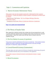 Communism and Capitalism Notes