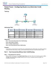 5.1.3.6 Packet Tracer - Configuring Router-on-a-Stick Inter-VLAN Routing InstructionsFINISHED
