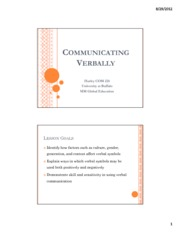 Lecture 5 - Communicating Verbally