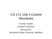CS 171 Unit 3 Control Structures