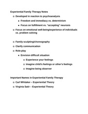 Experiential Family Therapy Notes