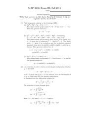 Sample Exam 3 Solution on Ordinary Differential Equations