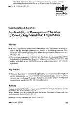 Applicability of Management Theories to Developing Countries