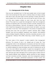 Time Management Efficiency a Case study on Addis Ababa University, School of commerce students (FINA