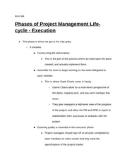 BUS 368 Management Skills - The Phases of Project Management - Execution