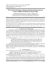 ITT and the Strategies of Interpreting Fixed Expressions in Arabic–English Simultaneous Interpreting