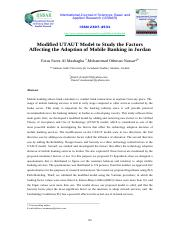 Modified UTAUT Model to Study the Factors Affecting the Adoption of Mobile Banking in Jordan