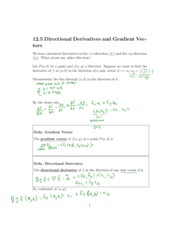 Directional Derivatives and Gradient Vectors