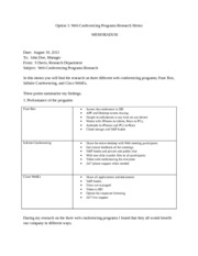 Web Conferencing Programs Research Memo