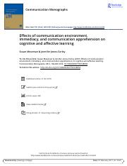 Effects of communication environment immediacy and communication apprehension on cognitive and affec