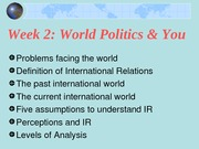 Week 2 Understanding Int'l Relations