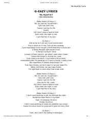 G Eazy Lyrics Me Myself I Pdf G U00adeazy Lyrics U00ad Me