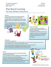 Play Based Learning Handout