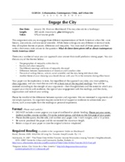"Assignment Outline - ""Engage in the City"" and Readings"