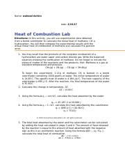 lab heat of conbustion