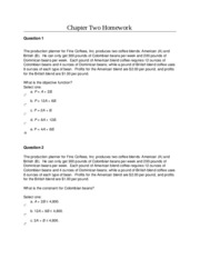 MGT 340 Intro Management Science Chapter Two Homework