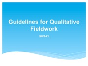 Week 5 Overheads Guidelines for Qualitative Fieldwork 1