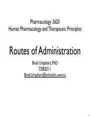 Topic 8 - Routes of Administration