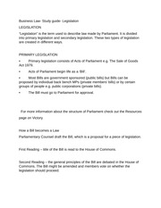Business Law- Study guide- Legislation