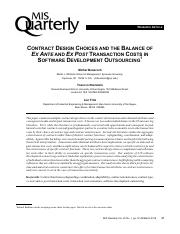 Contract design choices and the balance of ex ante and ex post transaction costs in software develop