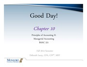 Ch 10 --Managerial Accounting UNC Fall 2014 UNC